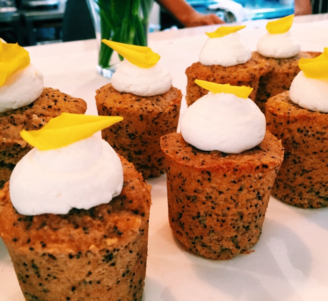 Gluten free lemon and poppyseed cakes